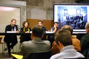 Presentació de les I Jornades del CREM. D'esquerra a dreta: Joan Mestres (regidor), Isabel Garcia (alcaldessa), Ernest Vilàs (president del CREM) i Martí Marín, professor d'Història Moderna i Contemporània de la UAB.