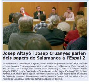 L'Informatiu municipal no 333 informa de la xerrada sobre el Retorn els papers de Salamanca