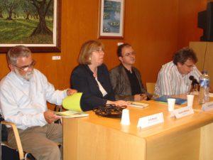 Lluís Agudo, nen de la Maternitat d´Elna, Assumpta Montellà (historiadora), Lluís Arcarazo (guionista de cinema i televisió) i Pere Garcia (president del CREM)