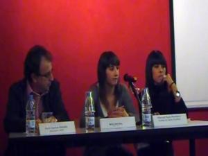 D'esquerra a dreta: Pere Garcia, president del CREM, Montserrat Ribot Garcia i Sara Duran Campoy