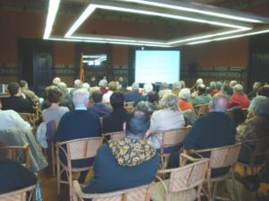 Moment de la conferència de Xavier Pérez Gómez, historiador i director de l'Arxiu Comarcal del Vallès Oriental