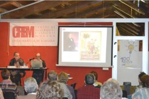Santi Ponce Vivet, professor d'Història Econòmica de la Universitat de Vic, durant la conferència