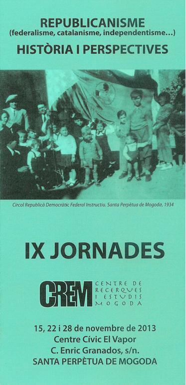 Díptic de les IX JORNADES del CREM